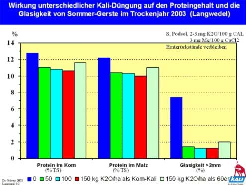 Wirkung unterschiedlicher Kali-Düngung auf den Proteingehalt von Braugerste